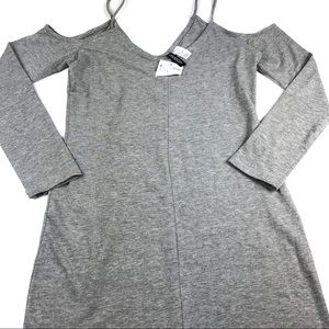H&M Divided Gray Cold Shoulder Fitted Dress Size 8